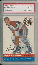 DICK GAMBLE 1954-55 Topps Hockey #1 GRADED PSA 5 EX CHICAGO BLACKHAWKS