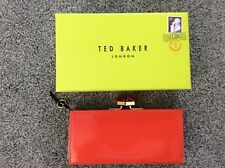 Ted Baker large red leather patent crystal clasp purse new box
