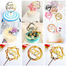 "Acrylic Cake Topper ""Happy Birthday"" ""Love"" Wedding Party Insert Card Decoration"