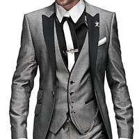 Light Grey Groom Wedding Suits Groomsmen Tuxedos Formal Men Business Prom Suits