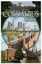 Columbus Ohio Montage, Santa Maria Ship Statehouse Bridge etc. - Modern Postcard