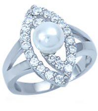 White Pearl Gemstone Sterling Silver Ring size Q