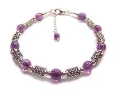 Sterling silver Celtic bracelet Amethyst purple gothic goth gemstone knotwork