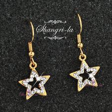18K 18CT Yellow GOLD FILLED STAR Dangle EARRINGS Gen SWAROVSKI CRYSTAL F221 Xmas