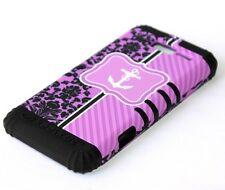 Motorola Droid RAZR M i XT907 -HARD&SOFT RUBBER HYBRID CASE PURPLE FLOWER ANCHOR