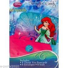 ARIEL THE LITTLE MERMAID THANK YOU NOTES (8)  ~ Birthday Party Supplies Disney