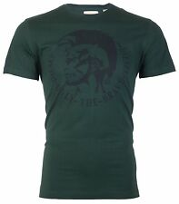 DIESEL Mens S/S T-Shirt ACHEL Indian Head GREEN Designer Jeans M-L $58 NWT