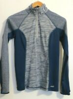 Avia women's XS 0-2 1/4 zip pullover long sleeve activewear top navy blue gray