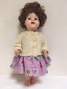 "Vintage BND London 21"" Hard Plastic Walking Doll Closing Eyes Handmade Outfit"