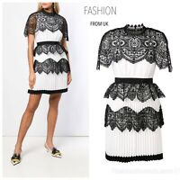 Self-Portrait White And Black Pleated Lace Cape Dress Uk 12