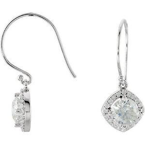 Halo-Style Diamond Earrings In 14K White Gold (2 1/5 ct. tw