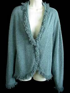 Dressbarn Fringed Knitted Cardigan Sweater Size L Teal Blue Green