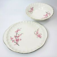 WS George Bolero Peach Blossom Oval Pink Platter & Serving Bowl 22K Gold Antique