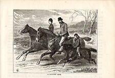 Stampa antica ESCURSIONE A CAVALLO IN CAMPAGNA in famiglia 1892 Old print horses
