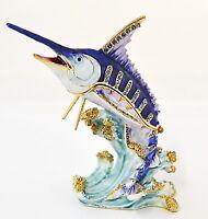 Marlin Fish Trinket Box. Beautifully Hand Crafted with Swarovski Crystals Enamel