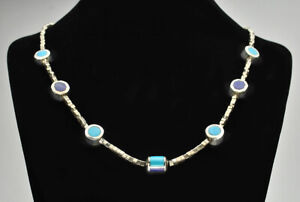 """Christin Wolf Sterling Silver & Multi Stone """"Reversible"""" Necklace 17.75"""""""
