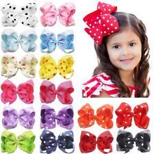 6Inch Grosgrain Ribbon Polka Dot Bow Alligator Hair Clips for Baby Girls Toddler