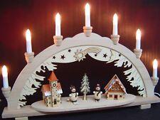 Arc à lumière à bougies 3D bonhomme de neige ville 2 Figuren 7 lumières 57x38