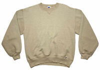 Vintage Beige 90's Russell Athletic Faded Blank Sweater Men's Size M Made In USA