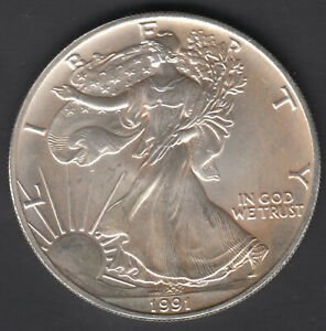 USA 1991 LIBERTY EAGLE ONE DOLLAR 1 OZ FINE SILVER