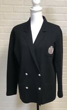 Ralph Lauren Wool Cardigan Sweater Jacket PS Black Double Breasted Crown Crest