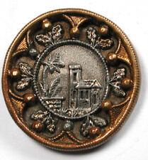 "Antique Brass Button Castle Chateau with Fancy Border - 1"""