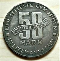 WW2 NAZI GERMANY ERA JUDE JEWISH 50 MARK EXONUMIA COIN GETTO 1943 LITZMANNSTA
