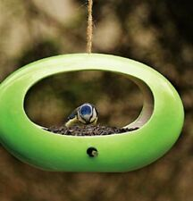 Elegant Ceramic Hanging Bird Feeder Nest with Sheltered Feeding and Perch Area