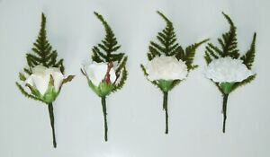 Carnation or Rose Wedding Button Hole Corsage White, Ivory or Cream options