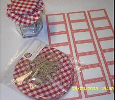 20 x FABRIC JAM jar tops gingham PACK includes sticky jar labels & bands x 20