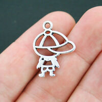 SC2987 10 Baseball Hat Charms Antique Silver Tone 3D