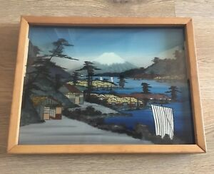 Unusual Vintage Japanese Reverse Painting On Glass 3D effect