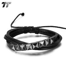 Quality TT Black Leather Stud Bracelet Wristband (LB310D) NEW Arrival