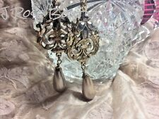 Chandelier Vintage Sty rose gold Champagne pearl wedding earrings bridal jewelry