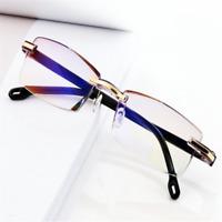 Men Women Presbyopia Eye Glasses Anti-blue Light Lens Rimless Reading Glasses