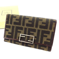 Fendi Wallet Purse Trifold Zucca Brown Beige Woman unisex Authentic Used P642