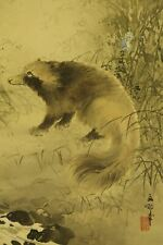 """JAPANESE HANGING SCROLL ART Painting """"Raccoon dog"""" Asian antique  #E6355"""