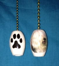 """One Old English Sheepdog Dog Fan Pull With A Paw Print On The Back 1"""""""