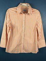 J Mclaughlin Womens Size 12 Long Sleeve Button Up Shirt Top Blouse Striped Plaid