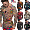 Men's Vintage Printed T-Shirt Ethnic Style Tops Long Sleeve O Neck Casual Blouse