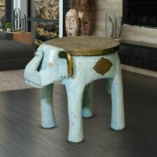 Orient Design Couch Tisch Beistell Ablage Elefant Shabby Holz Möbel blau gold
