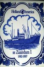 Holland America Cruise Zaandam I 1882-1897 Delft Blue Coaster Tile