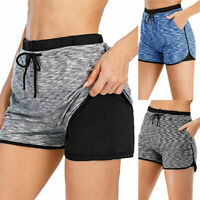 Womens Ladies Yoga Shorts Fitness Casual Pants Running Gym Sports Size 10-18