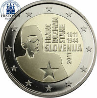 Slowenien 2 Euro Gedenkmünze 2011 PP 100. Geburtstag Franc Rozman in Münzkapsel