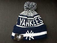 New Era MLB New York Yankees Navy/White Cuffed Knit Pom Beanie Hat Cap