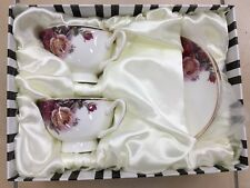 Tea Set With Rose Pattern. 2 Cups And 2 Saucers. Fine Bone China.