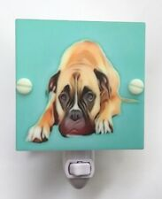 Night Light Boxer Dog White Plastic With Interchangeable LED fixture