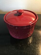 Longaberger Rare Retired Pottery Holiday Drum Crock Casserole Dish+Lid