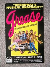 GREASE Window Card TOUR Concord, CA 1978