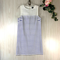 J. Crew Sleeveless Shift Dress Women's Size XS Black Label White Blue Striped